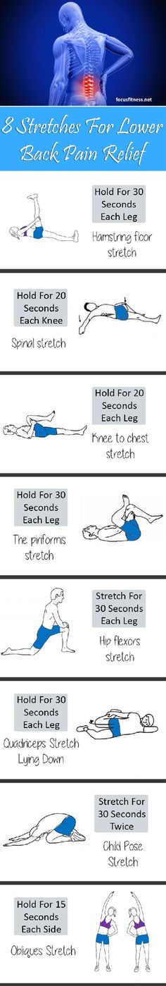 Pilates weightloss lower bodies 8 Stretch Exercises For Lower Back Pain Relief Yoga Fitness, Fitness Workouts, Health Fitness, Exercise Workouts, Health Yoga, Fitness Motivation, Lower Back Pain Relief, Hip Pain, Lower Back Pain Causes