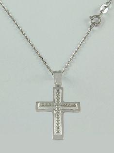 Σταυρός βάπτισης λευκόχρυσος με αλυσίδα, 14 καράτια, κορίτσι, Κωδικός WS232