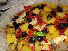 La buona cucina di Katty: Merluzzo al forno con patate, olive e pomodorini