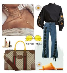 """""""Untitled #4"""" by ayuradit on Polyvore featuring WithChic, Marques'Almeida, MANGO, Gucci, Ray-Ban and Yves Saint Laurent"""