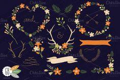 Check out Folk flower wreath heart orange dark by GrafikBoutique on Creative Market