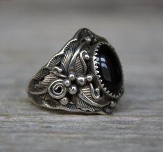 Vintage Navajo Native American Black Onyx Sterling Silver Men's Ring 12