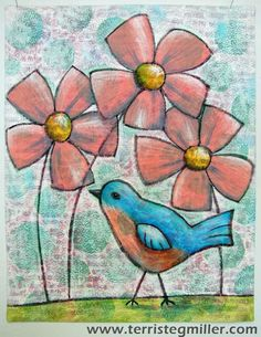 Poppin' Up Spring - art quilt by Terri Stegmiller bird Quilt Art, Thread Painting, Fabric Painting, Coral Art, Fabric Postcards, Spring Art, Old Art, Art Classroom, Art Projects