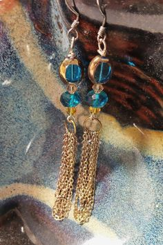Blue and Gold Crystal Chain Earrings Boho Sun by EEKstatic on Etsy