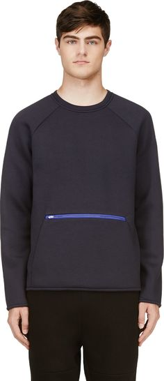 T by Alexander Wang Navy Blue Scuba Sweatshirt