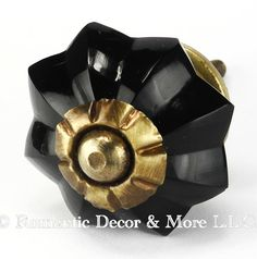 Black Melon Glass Cabinet Knobs, Drawer Pulls and Handles with Antique Brass Hardware for Cabinets, Dressers, Kitchen Cabinets Set/4