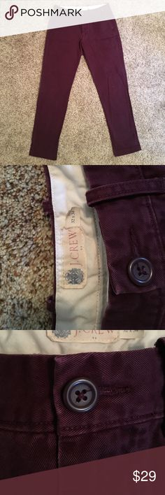 J-Crew burgundy straight slim chinos Like new. No seams ripped or torn. Size 32-34 J. Crew Pants Chinos & Khakis