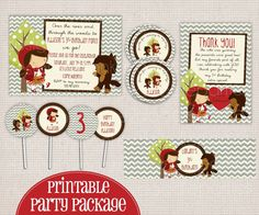 Adorable Little Red Riding Hood Story Book Printable Birthday Party Package