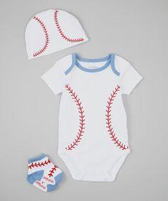 Look at this #zulilyfind! White & Red Baseball Bodysuit Set - Infant by Lovespun #zulilyfinds