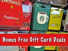Buying gift cards? Be sure to check this list for FREE Bonus Gift Cards you can score, at places like Applebee's, Outback and more! #free #giftcards #christmas #gifts