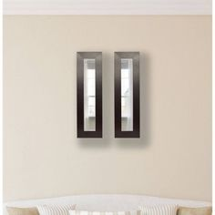 Rayne Wide Brown Leather Mirror Panel, Set of 2
