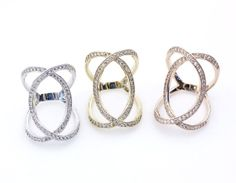 Wide Infinity Ring detailes with CZ in 3 Colors by zizibejewelry, $36.00