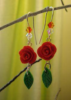 Sculpey rose earrings.