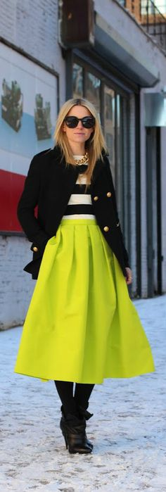 Sharp outfit....jacket, sweater and necklace...great skirt color..., but not my style