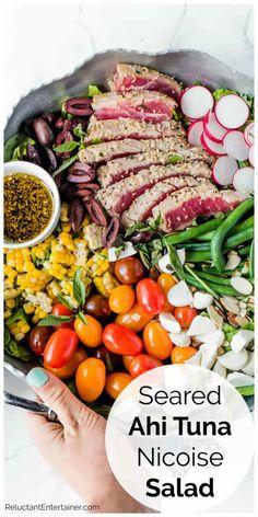 Seafood Recipes, Dinner Recipes, Cooking Recipes, Great Salad Recipes, Top Recipes, Delicious Recipes, Healthy Recipes, Tuna Nicoise Salad, Seared Tuna