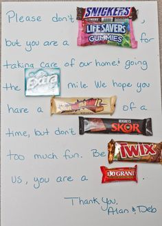 say thanks with candy