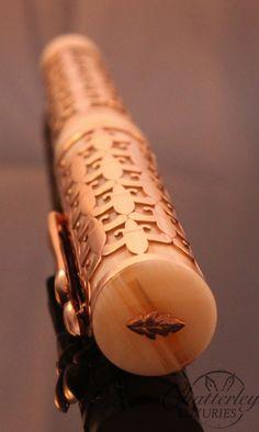 Stipula Rose Gold Fleur di Lis Fountain Pen   https://chatterleyluxuries.com/product/stipula-chatterley-rose-gold-vermeil-fleur-de-lis-overlay-limited-edition-fountain-pen/#