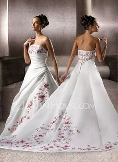 Wedding Dresses - $198.99 - Amazing A-Line/Princess Strapless Chapel Train Satin Wedding Dresses With Embroidery Ruffle (002004536) http://jenjenhouse.com/pinterest-g4536