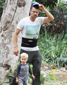 Josh Duhamel takes his son Axl to breakfast and to the park on October 15, 2015