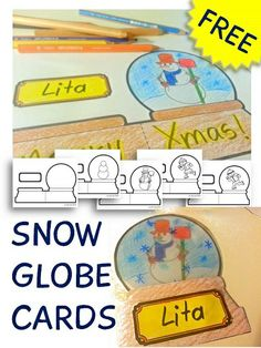 SNOW GLOBE CARD freebie with different printable templates!