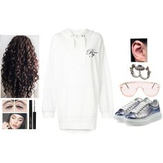 Fashion set White Breeze created via @urstyle https://urstylecdn.blob.core.windows.net/styles/1564669 07.05.2018 - VALE Breezy hoodie £136 - Alexander McQueen Glitter & Metallic Leather Platform Sneakers £300 - Calzedonia FISHNET TIGHTS £11 - WINGWOMAN SHIELD SUNGLASSES £8 - ALEXANDER MCQUEEN Queen and King Double Ring £275 - Triple black earrings - 14k White Gold Round Black Cubic Zirconia Stud Earrings - Unique Snowflake Moments Silver Bangle