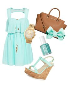 """""""Mint is Trend"""" by nickiklau on Polyvore featuring Dee Keller, Oneness, MICHAEL Michael Kors, Forever New, Charlotte Russe and Essie"""