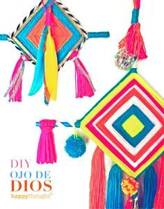 How to make Ojo de Dios of God's Eyes DIY tutorial for easy craft ideas https://happythought.co.uk/craft/tutorials/how-to-make-ojo-de-dios