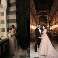 We love these beautiful photos from Leah's wedding in Positano. Leah wears a custom Paolo Sebastian rose gold gown