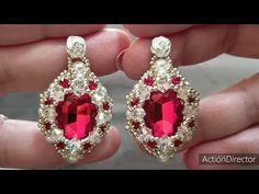 Beaded Jewelry Designs, Jewelry Patterns, Beading Patterns, Jewelry Ideas, Bead Earrings, Diamond Earrings, Beading Techniques, Earring Tutorial, Micro Macrame