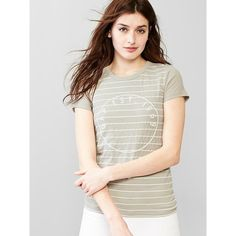 Gap Women Beaded Logo Stripe Tee ($21) ❤ liked on Polyvore