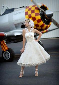 A-Line Sweetheart Tea Length Silk Dupioni/ French Lace Wedding Dress Style Bianca