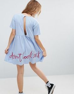 ASOS SMOCK DRESS WITH DON'T LOOK BACK EMBROIDERY #style #fashion #trend #onlineshop #shoptagr