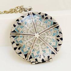Locket, Silver Locket,Blue Locket,filigree locket necklace,resin locket , vintage locket,Wedding Necklace,bridesmaid necklace. $79.99, via Etsy.