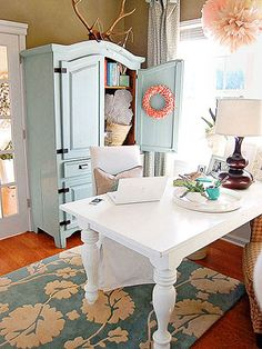 great color combination. love this pink blue, and brown (wall color) together with the white trim and desk.
