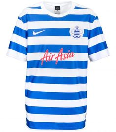 - Queens Park Rangers FC 2014/15 Home Kit - Blue and white althernating horizontal stripes with a white collar hem. Nike. Premier League.