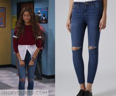 "Cooper (Zendaya Coleman) wears these dark blue knee rip high rise denim jeans in this episode of K. Undercover, ""Give me a K! They are the Topshop MOTO Vintage Wash Ripped Leigh Jeans. Zendaya Outfits, Zendaya Style, Celebrity Outfits, Disney Outfits, Tv Show Outfits, Outfits For Teens, Cool Outfits, Summer Outfits, Girls Fashion Clothes"