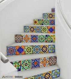 For a beach house 💚Mexican Talavera tile decal: Mexican Talavera is a well known handicraft of Mexico. Taking the inspiration from hand painted tiles & the colorThe Best Mexican Tile Stairs For Your Spanish Style DécorThese Talavera ceramic tiles Tile Decals, Wall Tiles, Backsplash Tile, Tile Art, Machuca Tiles, Cement Tiles, Backsplash Ideas, Wall Decal, Wall Stickers