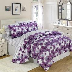 Add this elegant and incredibly soft comforter to any bed to make counting sheep a thing of the past. Whether updating the master bedroom or a guest room, this bedding set is sure to warm up décor. Floral Comforter, Comforter Sets, Purple Bedding Sets, White Bedding, Bed In A Bag, Bedroom Decor, Bedroom Ideas, Bedroom Bed, Master Bedroom