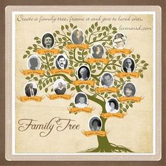 A lovely Family Tree design for a scrapbook or genealogy project. Heritage Scrapbooking, Scrapbooking Layouts, Scrapbook Sketches, Create A Family Tree, Family Trees, Family Tree Designs, Family Tree Research, Personalised Family Tree, Family Search