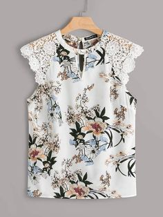 To find out about the Plus Floral Print Lace Shoulder Top at SHEIN, part of our latest Plus Size Blouses ready to shop online today! Fashion News, Girl Fashion, Fashion Looks, Fashion Design, 80s Fashion, Korean Fashion, Vintage Fashion, Plus Size Blouses, Plus Size Tops