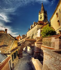 Street in a medieval Romanian town, Sibiu-Transylvania Wonderful Places, Beautiful Places, Sibiu Romania, Peles Castle, Romania Travel, Beaux Villages, Medieval Town, Eastern Europe, Places Around The World
