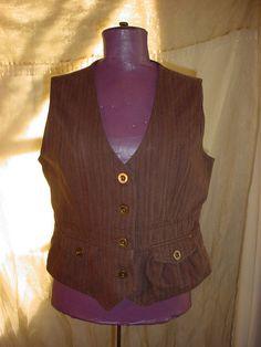 Vtg Hobbit Vest Relativity size Large with Pockets Dark Brown Stripe Cotton  #Relativity #Vest seller florasgarden on ebay