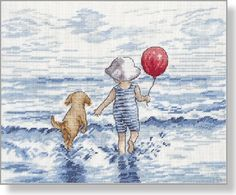 Splash Time - Faye Whittaker Arts, All Our Yesterdays Cross Stitch and Original Art Wesbsite - chart/kit out of stock
