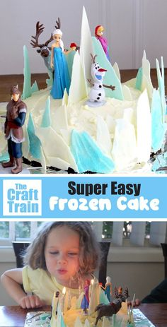 The easiest Frozen cake out there! Make a simple but effective Frozen cake with this tutorial, perfect for a Frozen party! Elsa Birthday Cake, Frozen Themed Birthday Party, Frozen Themed Food, Birthday Desserts, 5th Birthday, Easy Frozen Cake, Frozen Cake Tutorial, Frozen Party Cake, Frozen Cake Decorations