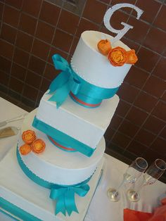 Turquoise & Orange Wedding cake