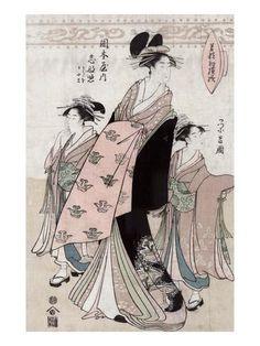 Courtesan Shinateru of the Okamoto-ya, Japanese Wood-Cut Print Julisteet tekijänä Lantern Press AllPosters.fi-sivustossa
