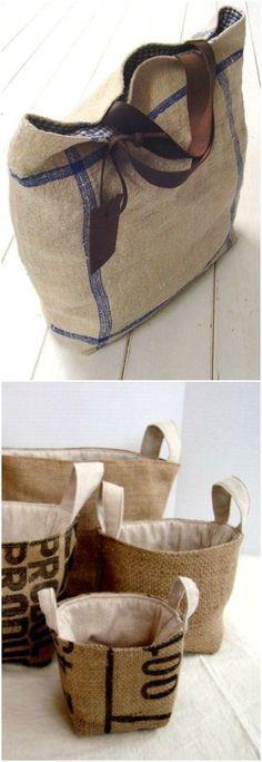 DIY con tela de saco. Visto en www.ecodecomobiliario.com: