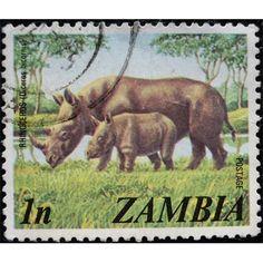 Zambia, Wild Life, Rhinoceros, 1975 used fine