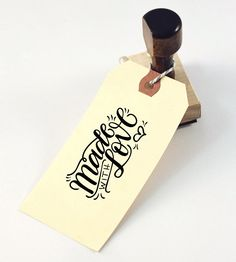 "Made With Love Hand Lettered Stamp | Add a sweet handwritten touch to handcrafted gifts with this ""... 