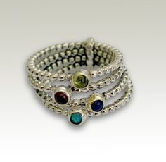 Birthstones Mothers ring sterling silver bands by artisanlook, $160.00